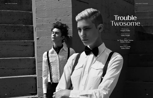 "Trouble Twosome published in Dark Beauty Magazine   by Ashley Luna, Gregory T. Hollar, Marie Vaccarello, Jes ""Rustyblades"" Sutton, Matthew Krause"