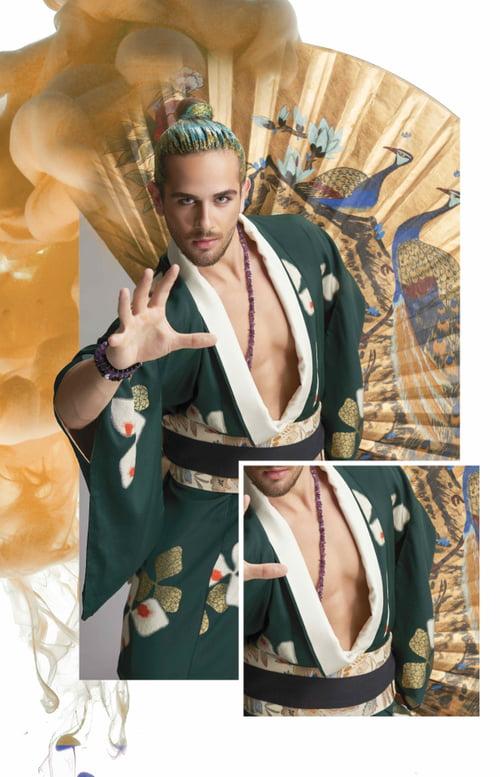 Work  by Sands, Kimono : Saithong Import Inc., Necklace: Pierres D'ailleurs - Bracelets: Neron By Caroline Neron