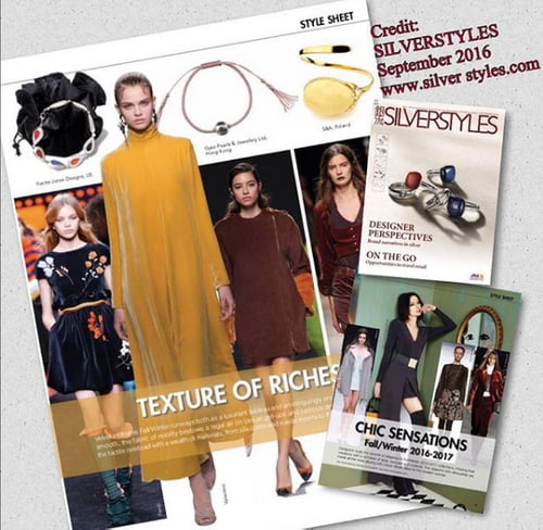 SilverStyles Magazine  ~Chic Sensations~Texture of Riches ~ Our Silver and Suede  Bangle Bracelet   by Yvette Jones, Olivia Quiniquini