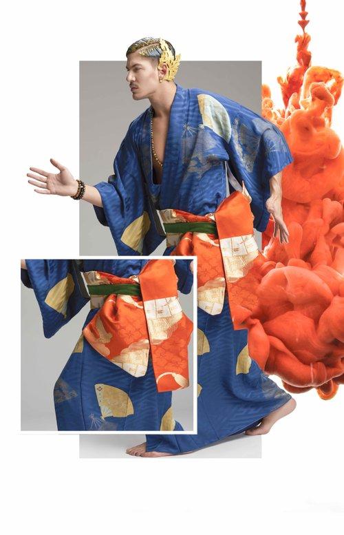 Work  by Sands, Alexandre Paskanoi, Kimono : Saithong Import Inc., Necklace : Pierres D'ailleurs -  Bracelets: Neron By Caroline Neron, Ludovic, Adam Bechir Snoussi