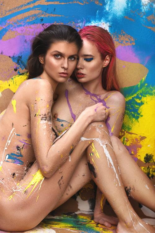 Masha and Sasha  Mua Yulia vitushkina  Background design and paint on model Daria kochneva   by Amer Mohamad