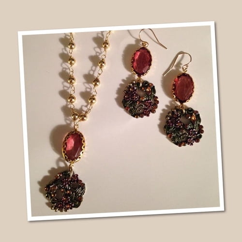 Faceted Amber and flower rhinestone  necklace and earrings set   by Yvette Jones